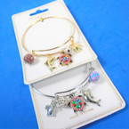 Gold & Silver Wire Bangle Bracelet w/ Sealife  Charms  .54 ea