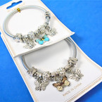 Gold & Silver Spring Style Bracelet w/ Butterfly  Theme  .58 ea
