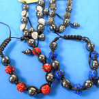 8MM Hematite Bead Bracelet w/ Fireball Beads .60 ea