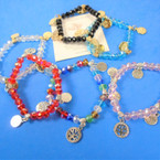 Crystal Bead Stretch Bracelets w/ Gold/Silver Tree of Life Charms .54 ea