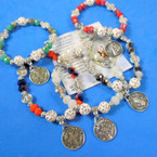 Crystal Bead Stretch Bracelets w/ San Benito Charms .56 ea