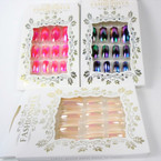 New Super Shiny 12 Pk Pre Glued Fashion Nails 3 colors .54 ea set