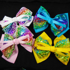 "5"" Gator Clip Bow 3 Layer w/ Metallic Mermaid Scales  12 per pk  .54 each"