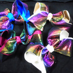 "5"" Gator Clip Bow 2 Layer w/New  Metallic Pattern Fabric  12 per pk  .54 each"