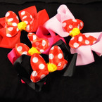 "5"" Gator Clip Bow 4 Colors w/ Poka Dot Red/Wh Bow   12 per pk  .54 each"