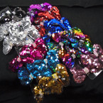 "3"" Asst Color Change Color Sequin Bows w/ Cry. Stone Center 24 per pk .29 each"