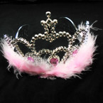 Silver Faux Fur Crowns w/ Jewels Asst Colors .56 each