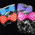 Popular Flashing Poka Dot Bow Novelty Headbands 12 per pk .65 each