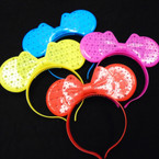 Popular Flashing Mouse Ear & Bow Novelty Headbands 12 per pk .65 each