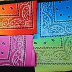 "New 20"" Square Fad Color Bandanas 4 colors per dz .54 each"
