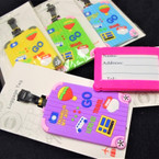 "4"" Colorful Lets Go Travel  Style Luggage Tags 12 per pk .58 each"