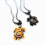 DBL Leather Cord Necklace w/ Ying Yang Turtle Pendant .54 ea