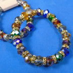 10MM Multi Dark Color Crystal Bead  Bracelets w/ Mini Crystals 12 per pk .63 each