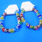 10MM Multi Bright Color Crystal Bead  Bracelets w/ Mini Crystals 12 per pk .63 each