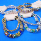 2 Pack 6MM Crystal Bead Bracelets &  Rhinestone Tennis Bracelet 12 sets per pk  .63 ea set