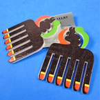 "3"" African Theme Color Comb   Wood Earrings  .54 per pair"
