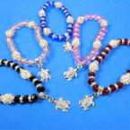 Crystal Bead & Fireball Bracelets w/ Cry. Stone Turtle Charm 12 per pk .60 each