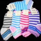 Multi Stripe Ladies Socks Fits Size 6-10  Asst Colors .56 per pair