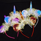 Metallic Mouse Ear & Unicorn Headbands w/ Tinsel .54 each