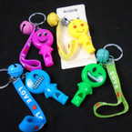 Keychain Set w/ Bracelet,Bell & Light Up Emoji Whistle Guy 12 per pk  .58 each