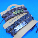 2 Pack Leather Bracelets Braid & Cross Theme .60 per set
