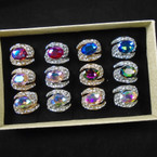 Chunky/Brillant Gold & Silver Crystal Stone Fashion Rings (929) 12 per bx  .56 each