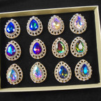 Oval Chunky Brillant Gold  Crystal Stone Fashion Rings (902) 12 per bx  .56 each