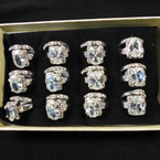 Wedding Band Ring Set Silver w/ Crystal Stone Ring & Band (822) .54 per set