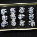 Wedding Band Ring Set Silver w/ Crystal Stone Ring & Band (815) .54 per set