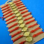 Red Macrame Bracelet w/ Gold San Benito Charm  12 per card   .54 each