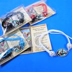 Asst Color Macrame Bracelet w/  St. Michael Charm w/ Story Prayer Card  .54 ea