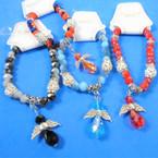 Multi Color  Beaded Silver Bracelet w/ Crystal Angel  Charm .56 each
