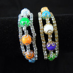3 Line Colored Bead & Crystal Stone Wire Bangles  Gold/Sil  12 per bx .54 each