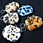 "4"" Faux Fur Animal Print Snap Closure Purse w/ Key Chain .58 each"