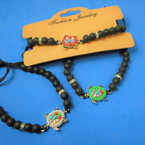 Black Stone Beaded Bracelet w/ Colorful Turtle Charm  12 per pk .58 each