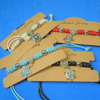 Mixed Color Cord  Bracelet w/ Crystal Stone Turtle Charm  12 per pk .58 each