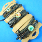 2 Pack Leather Bracelets Braid  &  Elephant  Disc  .60 per set