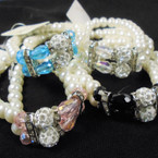 Dept Store Quality 2 Strand Glass Pearl Bracelets w/ Crystal Stones  .63 each