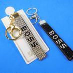 DBL Sided Crystal Stone Strap Keychains w/ Clip  BOSS  .58 ea
