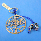 """2.25"""" Silver Tree of Life Metal Keychains w/ Eye of Protection Beads .56 each"""