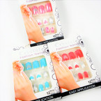 12 Pre-Glued Fashion Nails w/ Glitter  Heart Theme  .54 per set