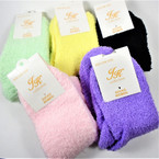 Ladies Mixed Color Soft Fluffy Cozy Socks  one size .66 per pair