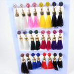 "2"" Tassel Style Earring w/ Cry. Stone Ball Top 12 pair display .58 per pair"