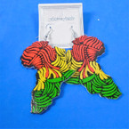 "3"" Rasta Color Africa Map Wood Earring Tropical Look  .54 per pair"