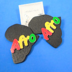 "3"" Black  Color Africa Map Wood Earring Rasta Color AFRO  .54 per pair"