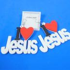 "3"" 3 Color Wood Earrings I Love JESUS  .54 per pair"