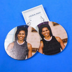 "2.75"" Round Michelle Obama  Wood Earring w/ Pearl Necklace  .54 each pair"