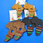 "3"" Africa Map Wood Earring Rasta Color Beads & Glitter Strips  .54 per pair"