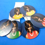 "2.75"" Round Michelle Obama  Wood Earring w/ Pearl Necklacew/  Expression  .54 each pair"