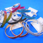 """2.5"""" Gold & Silver Hoop Earrings w/ Crystal Stones Asst Colors  .54 per pair"""